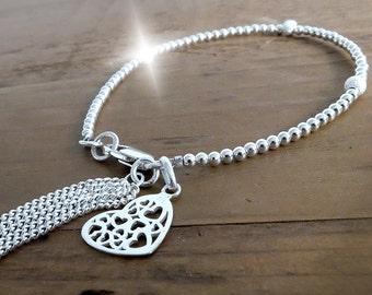 Silver Tassel Bracelet, Valentines Gift, Silver Bracelet with Heart Charm, Silver Layering Bracelet, Silver Stacking Bracelet,