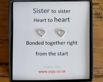 Silver heart Stud Earrings with Quote, Tiny heart Earrings, Personalised Quote Gift, Stocking Filler for Sister, Sister to Sister Gift
