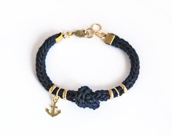 Navy blue bracelet with anchor charm and knot, anchor bracelet, blue knit cord nautical bracelet