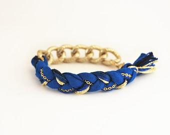 Cobalt blue braid bracelet with chunky chain, boho bracelet, cobalt bracelet, jersey bracelet