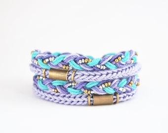 Lilac and mint wrap bracelet, lilac wrap bracelet, braided bracelet, knit bracelet, boho chic bracelet