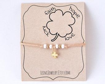 Four leaf clover bracelet, Lucky bracelet, minimalist charm bracelet, lucky gift for friend
