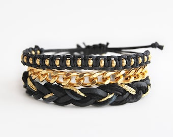Black bracelet set, black arm candy, set of three bracelets, black and gold bracelet stack