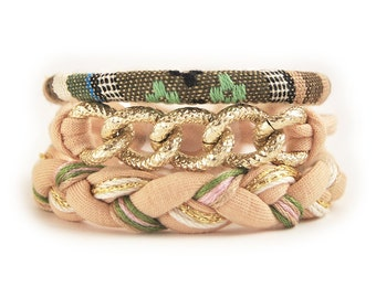 Beige bohemian bracelet stack, boho arm candy set of three bracelets with chunky chain, fabric cord and braid