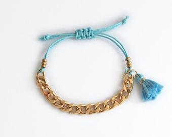 Aqua blue bracelet with chunky chain, turquoise tassel bracelet, boho bracelet for stacking