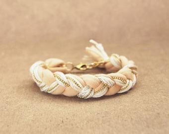 Cream friendship braid bracelet with chain, friendship bracelet from cotton, beige bracelet