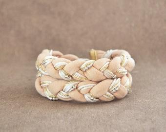 Beige braided wrap bracelet, jersey bohemian chunky bracelet in cream color