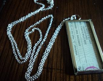 Vintage Disney ticket necklace 2 sided Magic Kingdom