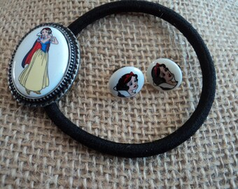 Snow White vintage porcelain findings ponytail holder earring set