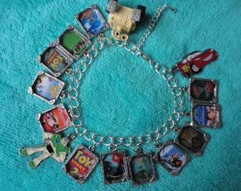 Disney Pixar films charm bracelet Wall e Cars Buzz Lightyear