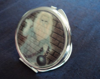 The Skeleton Haunted Mansion Disney inspired mirror makeup compact  2 sided The Prisoner