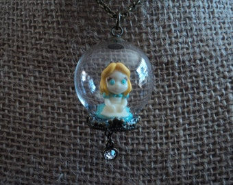 Alice In Wonderland  glass necklace