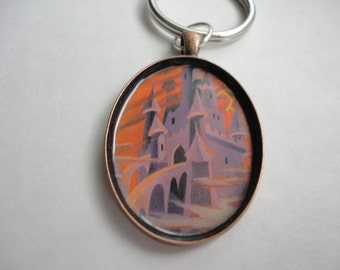 classic Vintage The Black Cauldron castle Horned King image keychain