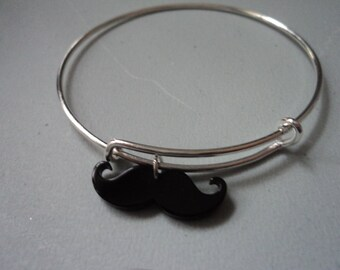 Mustache stackable silver charm bangle bracelet