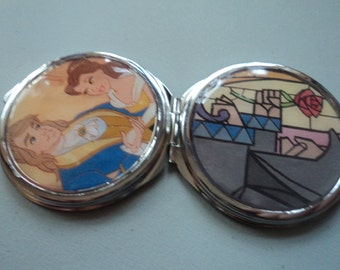 Disney Beauty and The Beast Belle and Beast in human form compact mirror