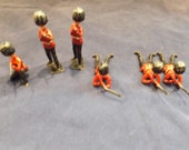 Vintage Set of Six Lead British Toy Soldiers Red Uniform
