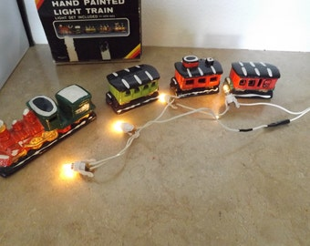 Hand Painted Lighted Christmas Train