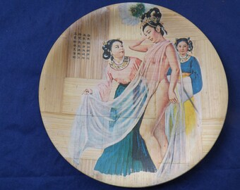 Rare Hand Painted Bamboo Plate Risque