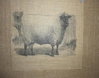 Sheep Burlap Picture