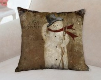Country Rustic Snowman Christmas Designer Pillow