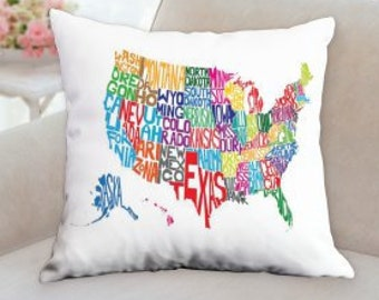 United States Text Pillow