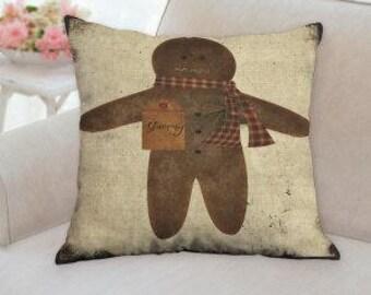 Ginger Bread Man Christmas Pillow