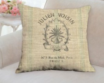 Rustic French Grain Sack Pillow (not real grain sack) it is printed on.