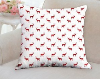 White with Red Reindeer Christmas Pillow
