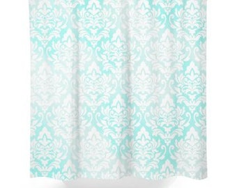 Aqua Watercolor Pattern Shower Curtain