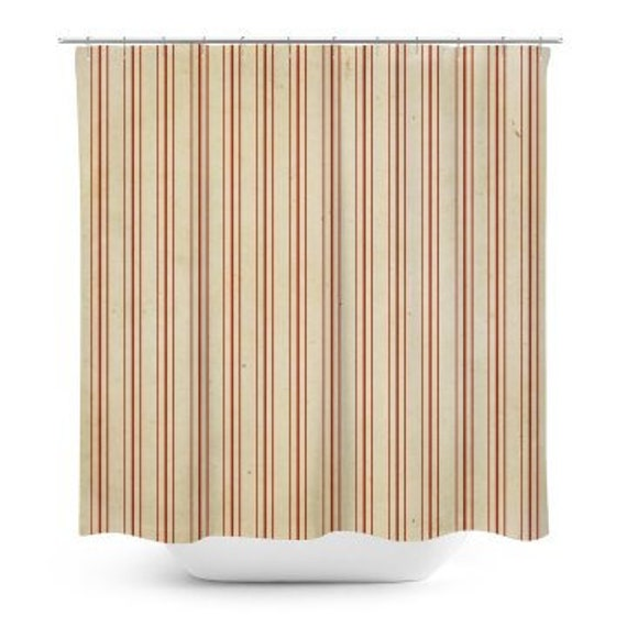 Country Red Striped Shower Curtain