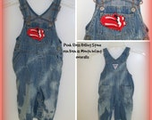 OOAK Unisex Hand Distressed Patched Rolling Stone Punk Floss Oshkosh B 39 gosh White Flamed Infants Overalls 12 M