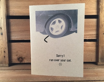 Greeting card: Sorry I ran over your cat