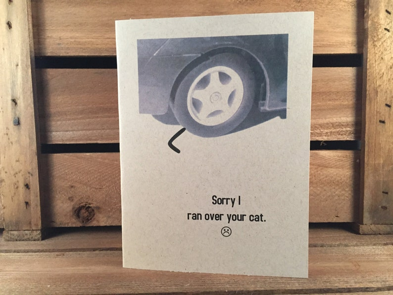 Greeting card: Sorry I ran over your cat image 0