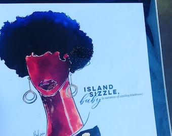 Island Sizzle Art Card (Greeting Card)