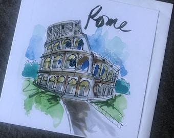 Colosseum - Rome - Art Card (Greeting Card)