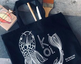 Koi Black Tote Bag