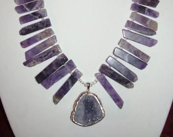 Purple Amethyst Druzy Necklace