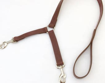 Double Dog Leash, Dog Leash Coupler, Dog Leash, Split Dog Lead, Leather Dog Leash, Dog Lead, Custom Dog Leash, Brown Leather Dog Leash