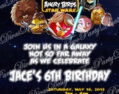 Printable Personalized Angry Birds Star Wars Birthday Party Invitation Image File