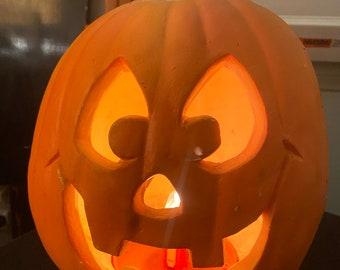 Personalized Ceramic Halloween Jack o Lantern Lamp Light Bat Eyes