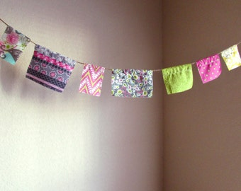 Prayer Flags, Fabric Banner, Photo Prop, Spring Banner, Flower Banner, Word Banner, Bohemian Flags, Fabric Bunting, Wall Hanging, Photo Prop