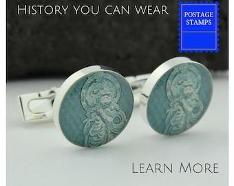 caca114c8097 Buddha Cufflinks - Buddha Cuff Links - Vintage Japanese Postage Stamp  Cufflinks - Handmade Cufflinks - Onjo Basatsu Cuff Links
