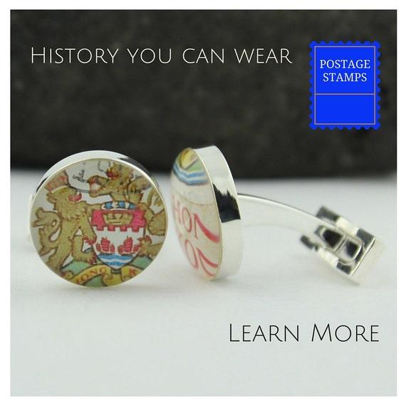 Anniversary Cuff Links for Men Custom Cufflinks Made from Genuine Upcycled Vintage Irish Stamp 5-year Anniversary Cufflinks