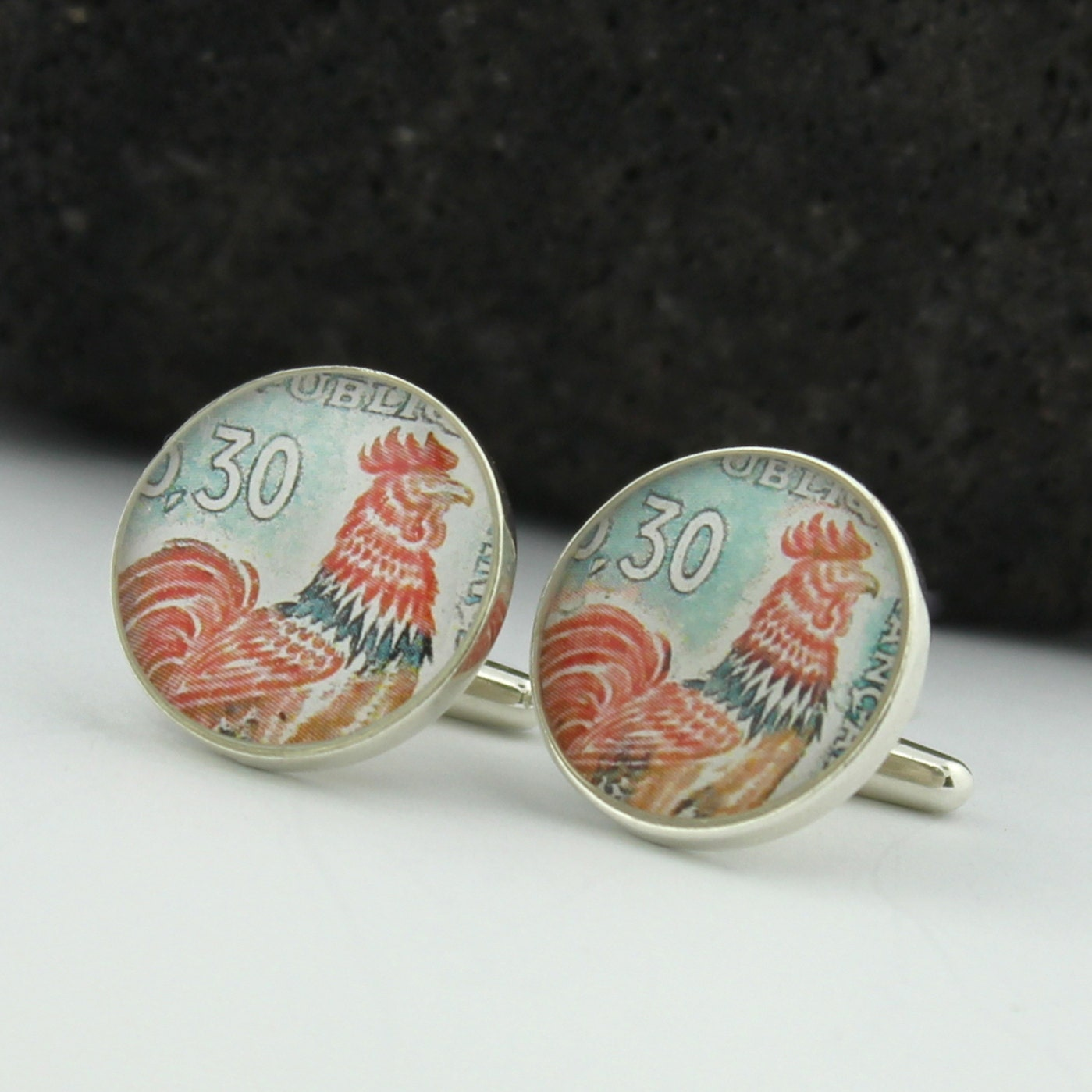 Select Gifts French Cockerel Cufflinks Solid Sterling Silver 925 with Optional Engraved Message Box