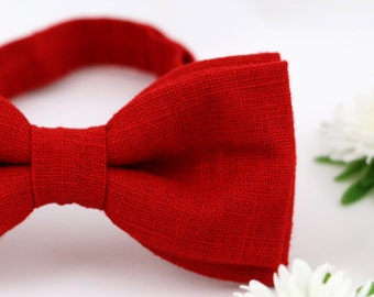 Red Bow Tie Red Linen Bow Tie Red Gift for Men Wedding Bow Tie Adjustable Bow Tie Handmade Bow Tie Christmas Gift Men Bow Ties for Men
