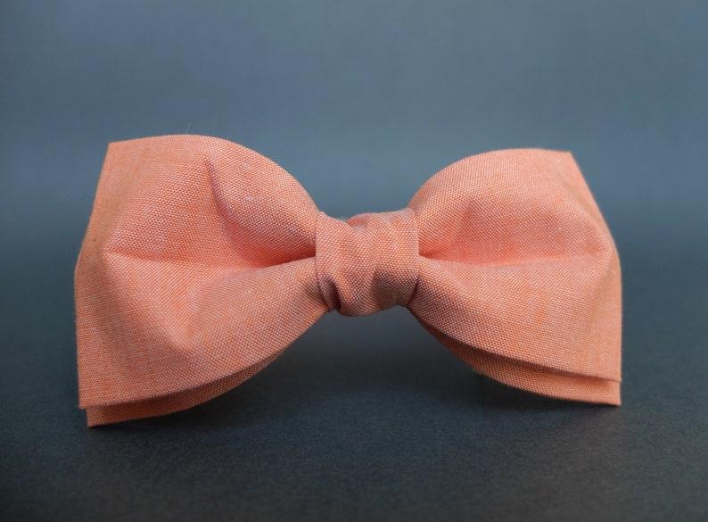 Orange Bow Tie for Men Gift for Men Pre Tied Bow Tie Mens Bow image 0