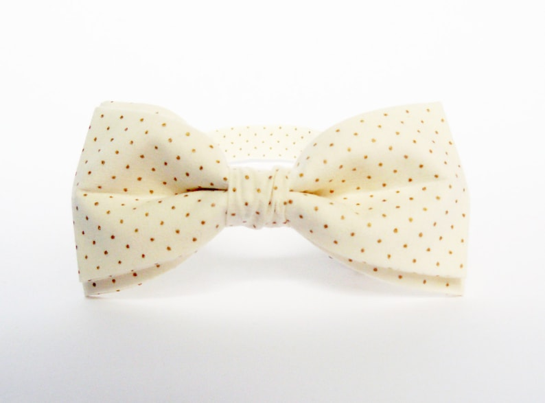 Ivory Bow Tie Gold Dots Bow Tie Dotted Bow Tie for Men Bow Tie image 0