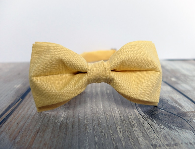 Yellow Bow Tie for Men Pastel Bow Tie Gift for Men Yellow image 0