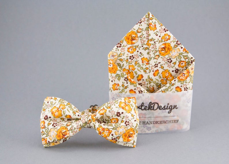 Orange Bow Tie Orange Pocket Square Floral Matching Set Floral image 0