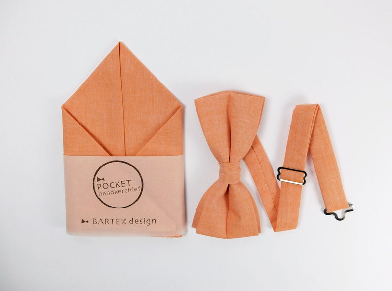 Orange Bow Tie & Pocket Square  Matching Set Bow Tie and image 0